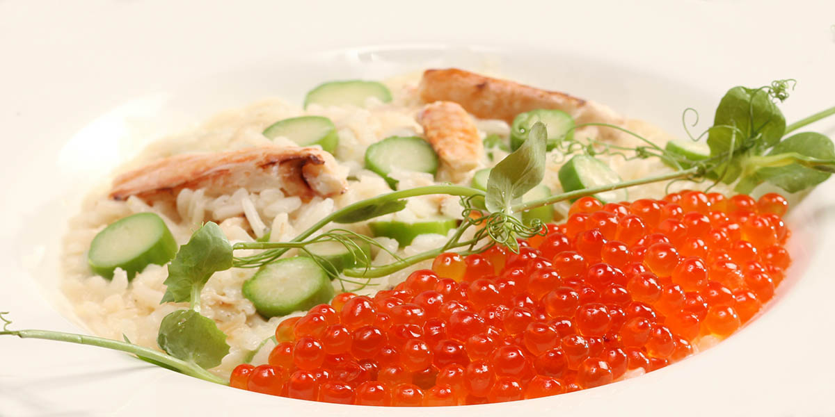 Crab Asparagus and Salmon Roe Risotto_1200x600